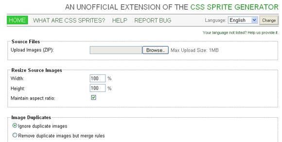 Website performance - CSS sprites generator