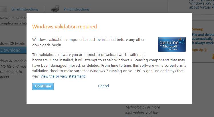 Windows Validation Required