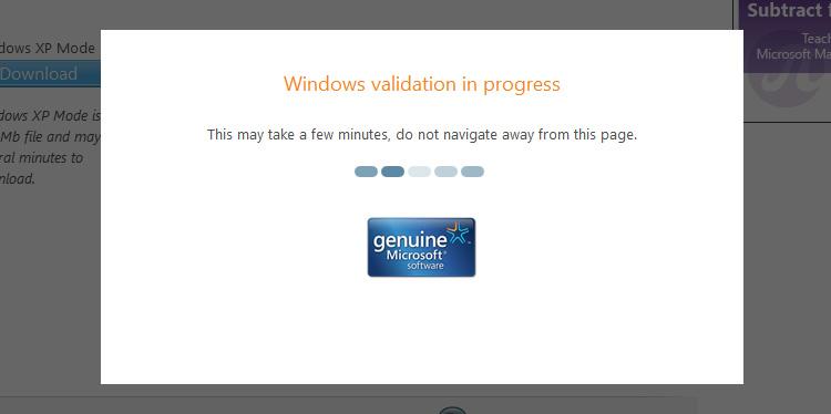 Windows Validation in progress