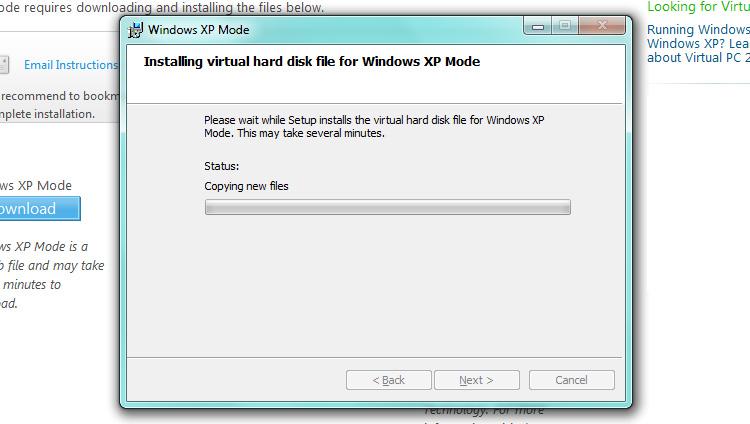 Installing Windows XP Mode
