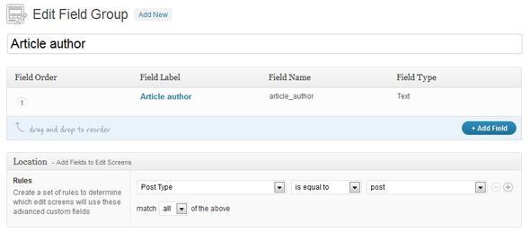 Advanced Custom Fields options page