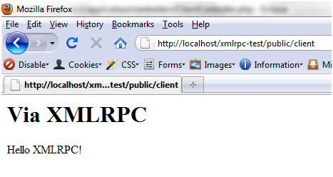 XML-RPC client result in browser