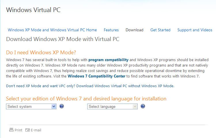 Download Windows XP Mode with Virtual PC