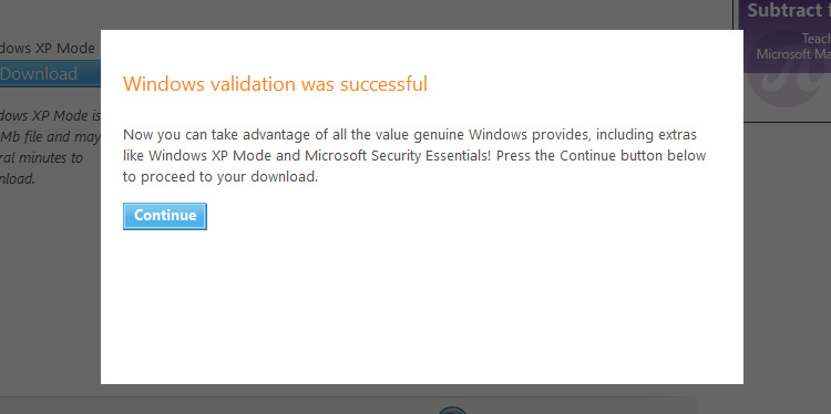 Windows validation was successful