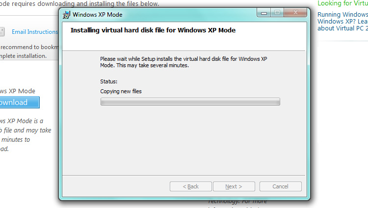 Installing Windows XP Mode