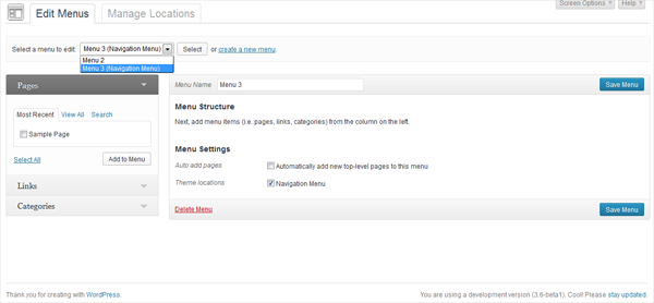 Wordpress New menus