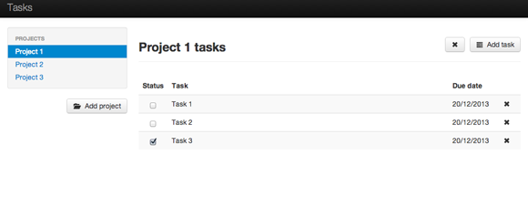 Tasks backbone.js interface